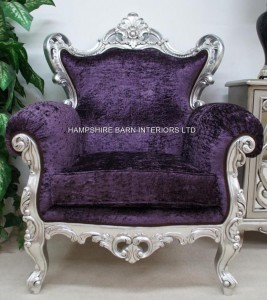 HUGE ROCOCO CHAIR IN SILVER LEAF WITH PURPLE CRUSHED VELVET