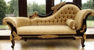 medium ornate mahogany and gold chaise longue by Hampshire Barn Interiors Ltd