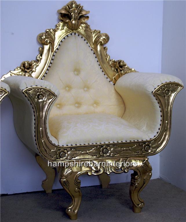 Ornate Gold Gilded Wedding Throne Chair Hampshire Barn