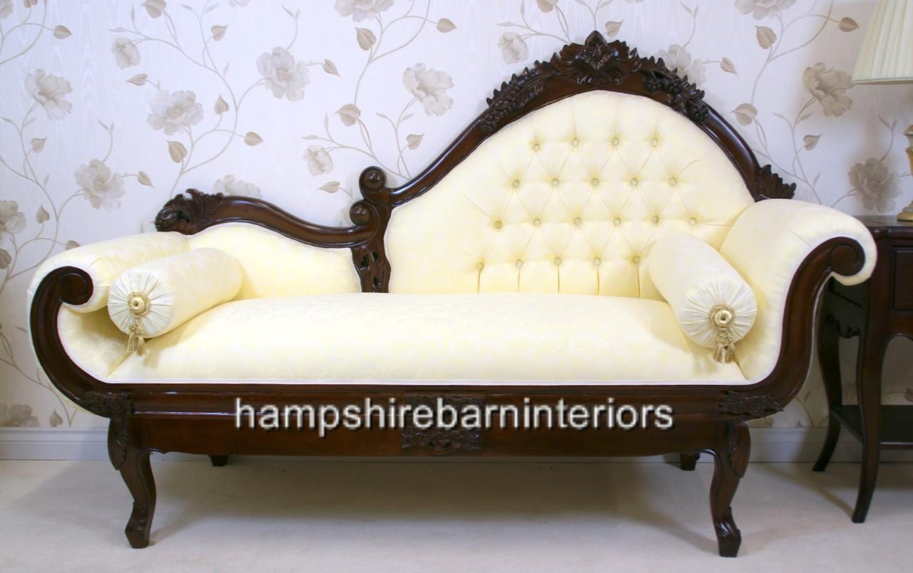 Amberley chaise longue in mahogany and cream medium for Chaise longue com