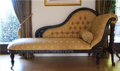 Classical Victorian Style Gold Chaise Longue With Castors