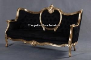 ornaye gold leaf sofa with black velvet