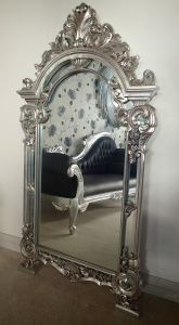 silver leaf pediment mirror