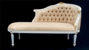 L'Amour French Chaise white & gold frame with gold fabric