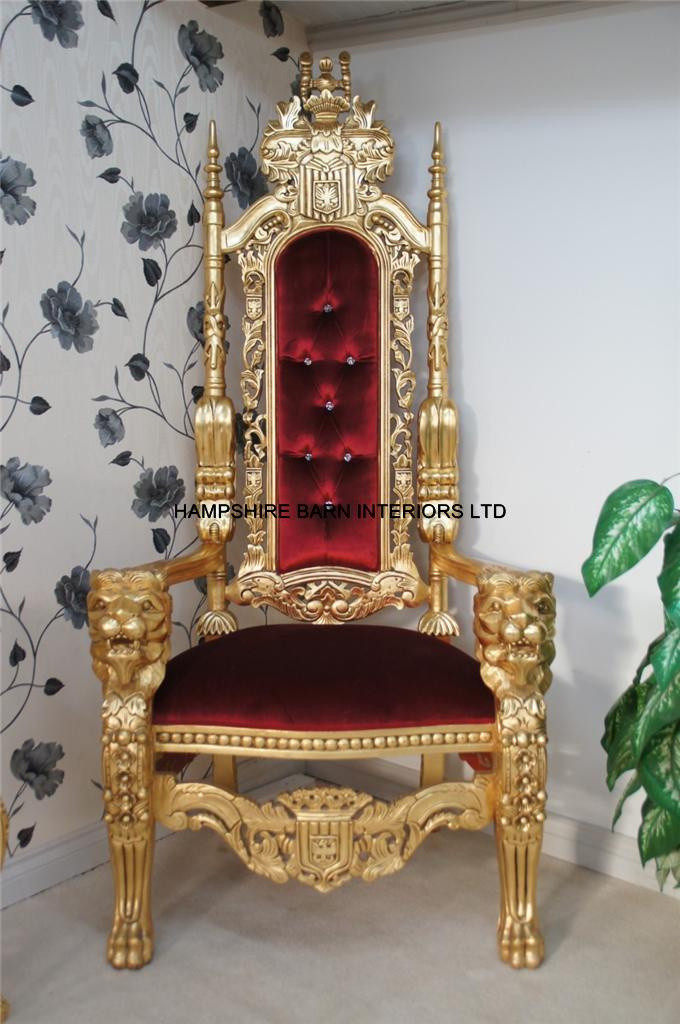 A Gold Lion King Throne Chair Choice Of Fabrics With