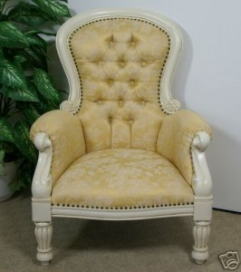 Antique White and Gold Arm Chair