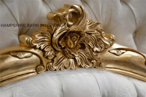 Charles ornate gold leaf bed with ivory fabric French Louis style