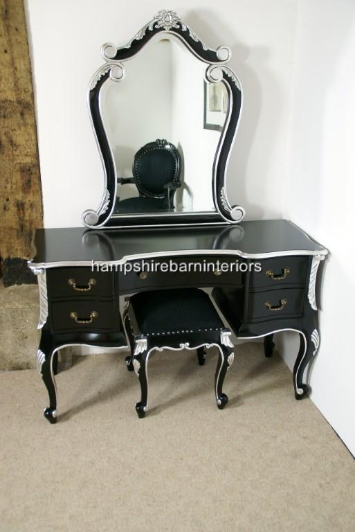 The Charles Dressing Table And Stool In Black And Silver - Black gloss dressing table