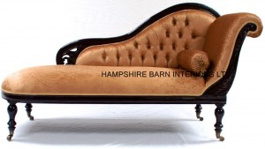 classical victorian style chaise mahogany gold fabric