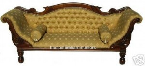Gold Antique Replica Gold Regency Chaise Sofa