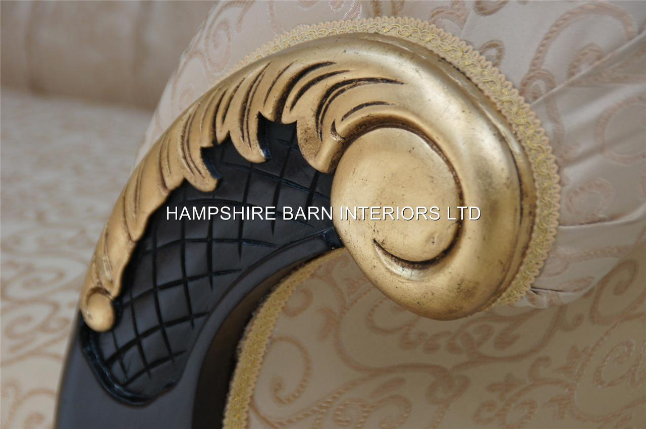 Medium Ornate Mahogany And Gold Chaise Longue By Hampshire Barn Interiors Ltd Hampshire Barn