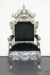 Silver Guilded Royal Throne Chair