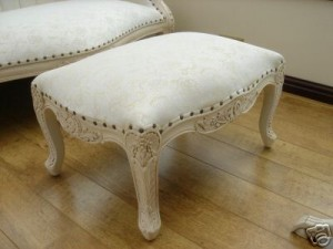 Antique White Ornate Foot Stool