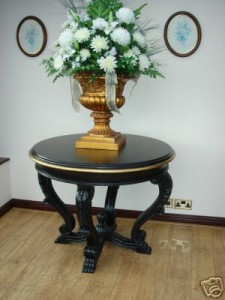 Gold and Black Display Large Round Table