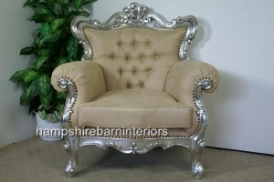 Silver Leaf Ornate Arm Chair