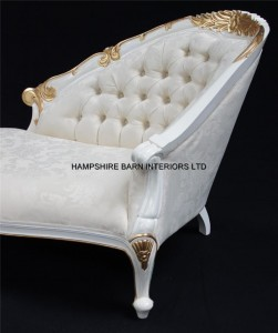 1Chatsworth Love Seat small chaise white and gold ivory fabric