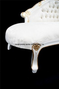 2Chatsworth Love Seat small chaise white and gold ivory fabric