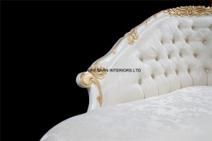 4 Chatsworth Love Seat small chaise white and gold ivory fabric