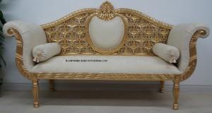 PRINCESS ROYAL WEDDING SOFA Ornate Gold and Cream fabric