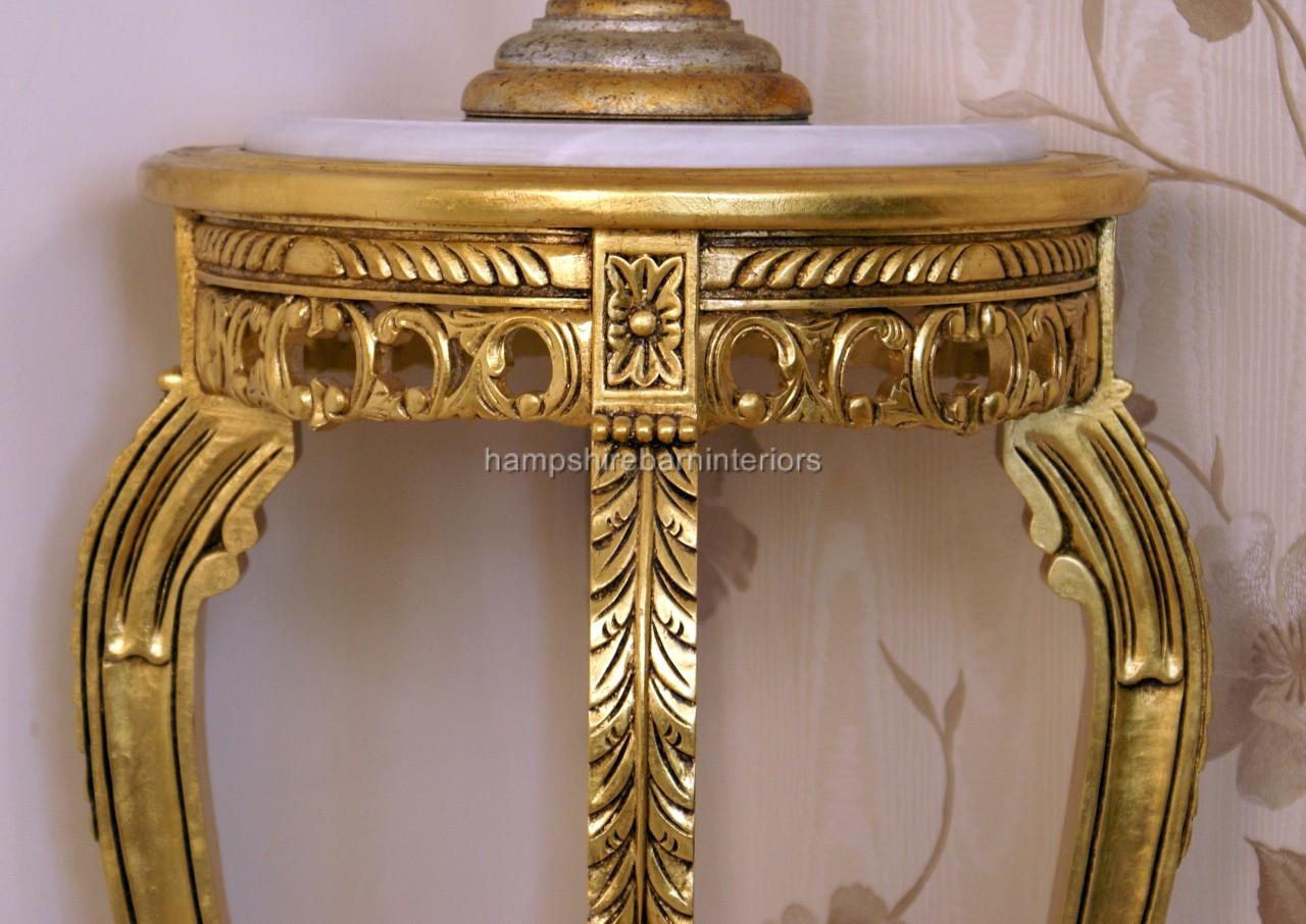 Ornate Marble Topped Flower Plant Display Lamp Stand Gold Silver Or Mahogany Finish Hampshire Barn Interiors