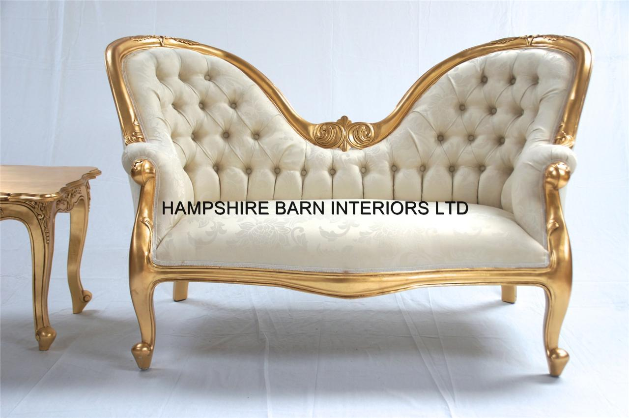 Etonnant Parisian Double Ended Sofa In Gold Leaf And Ivory Cream Fabric