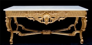 gainsborough console table with marble top white or black marble