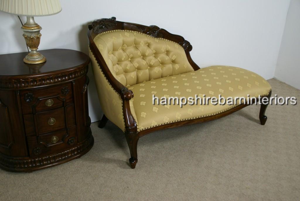 Chatsworth Love Seat In Mahogany And Regal Gold Fabric Hampshire Barn Interiors