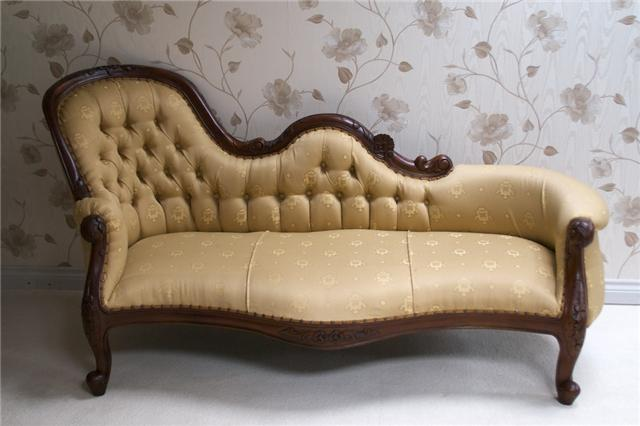 Waterford Chaise Longue In Mahogany And Trellis Cream Fabric Plus Variation In Gold