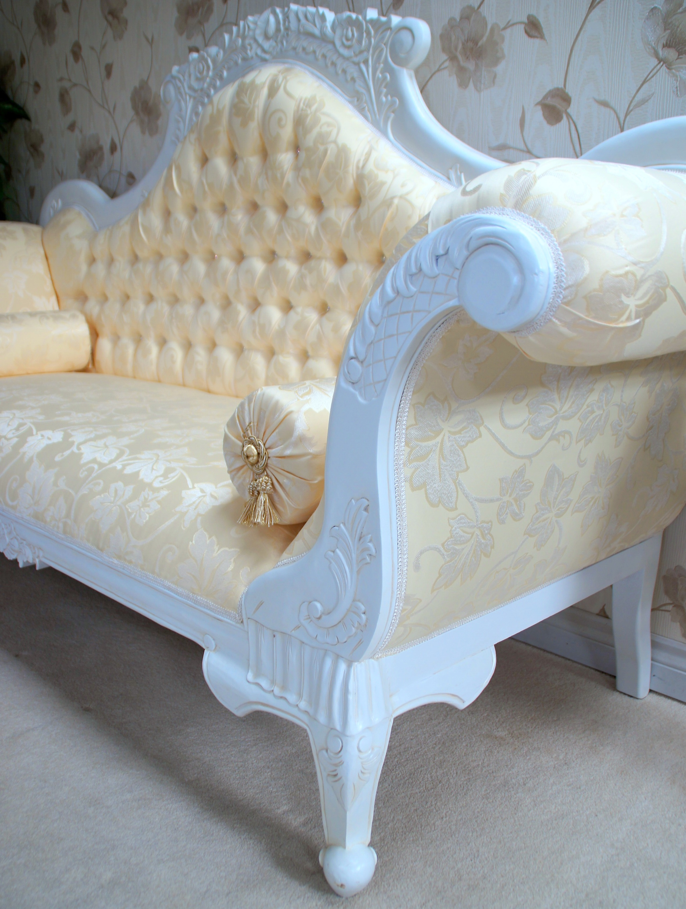 Antique White Ornate Wedding Sofa Now With Diamond Crystal
