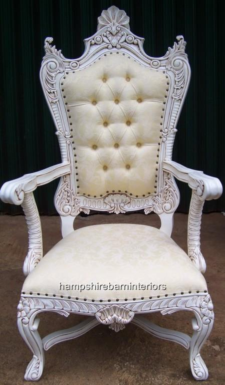 Large Kings Throne Chair In Antique White And Cream