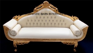 catherine wedding sofa gold leaf and faux leather with crystal buttons