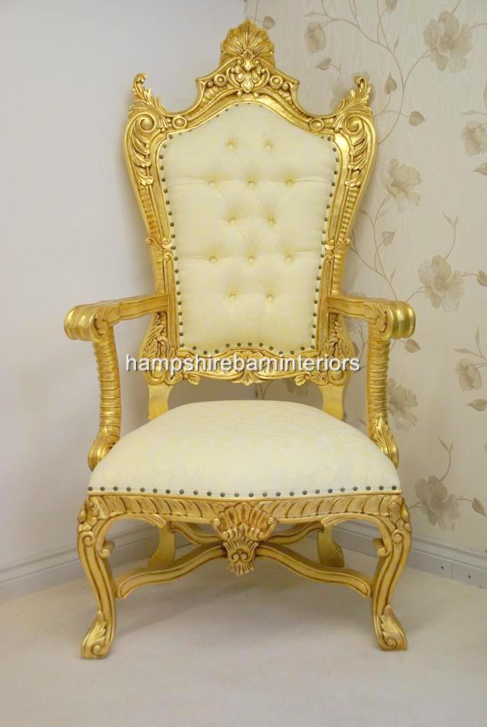 Large Kings Throne Chair In Gold And Cream Hampshire