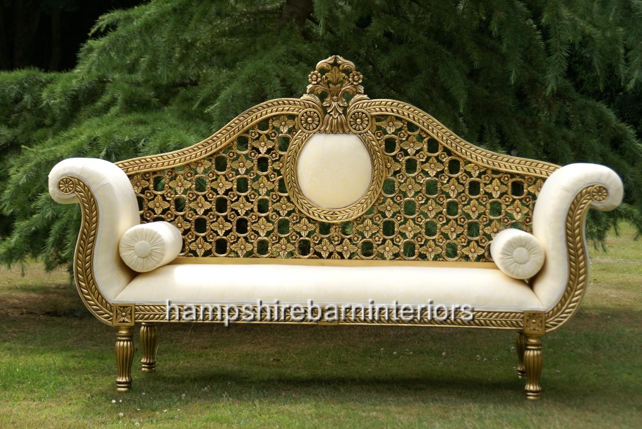 Emperor Wedding Set Sofa Plus Two Stools Shown In Gold