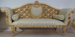 Royal Wedding Set Sofa in gold with easiclean cream faux leather