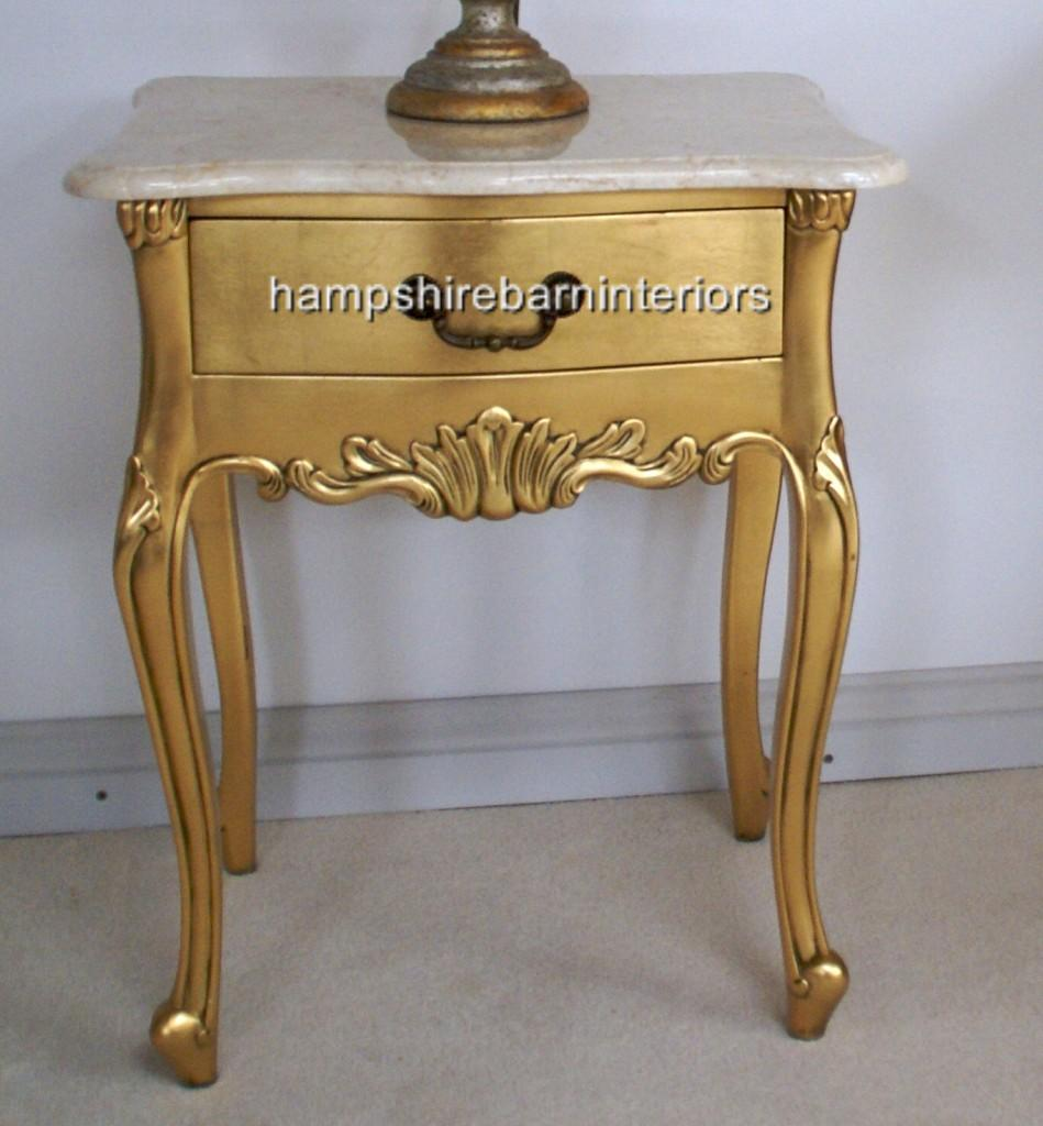 Louis Gold Leaf Lamp Table With Cream Marble Top Hampshire Barn