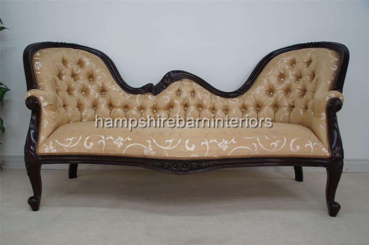 Orient victorian style double ended chaise longue sofa for Chaise longue style sofa