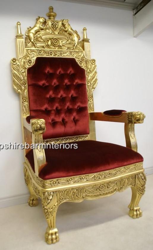 A Tudor Royal Throne Chair Gold and Red velvet Hampshire  : 418591797o from www.hampshirebarninteriors.co.uk size 515 x 844 jpeg 52kB