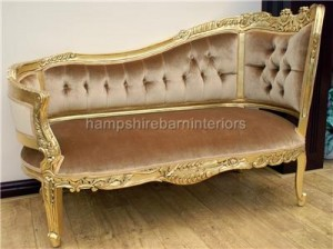 chaise longue or love seat in gold leaf finish