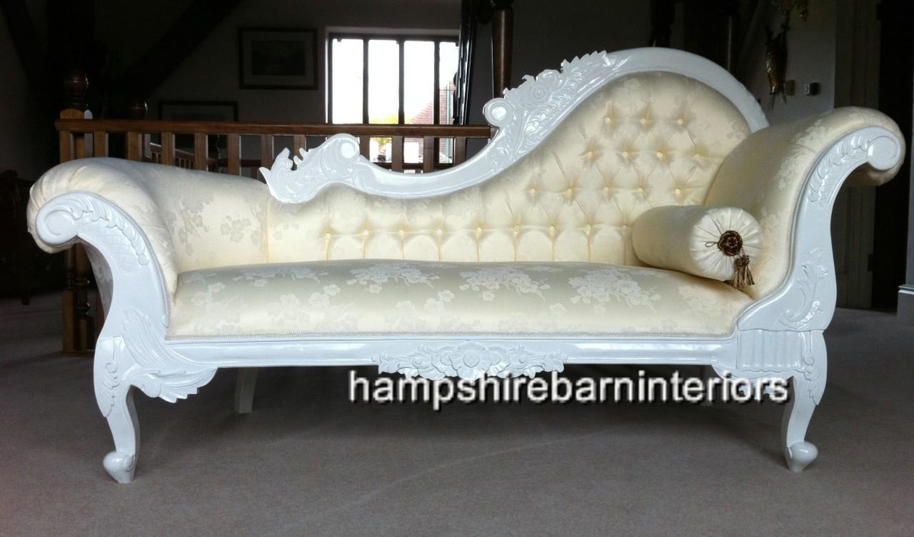 Hampshire Chaise In White With Cream Upholstery Medium Hampshire Barn Interiors