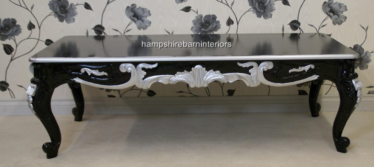 Black Amp Silver Ornate Marbella Coffee Table Hampshire