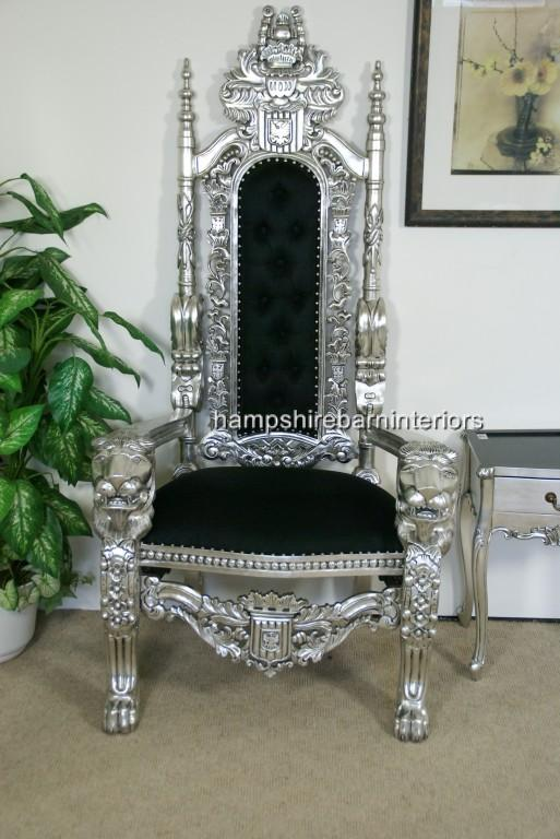 Aa Silver Lion King Throne Chair W Black Velvet With