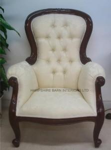 Cabriole Leg Victorian Grandfather Chair mahogany ivory cream damask