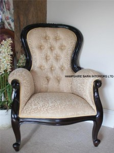 Antique Replica Arm Chair Victorian Wing style Mahogany cream gold