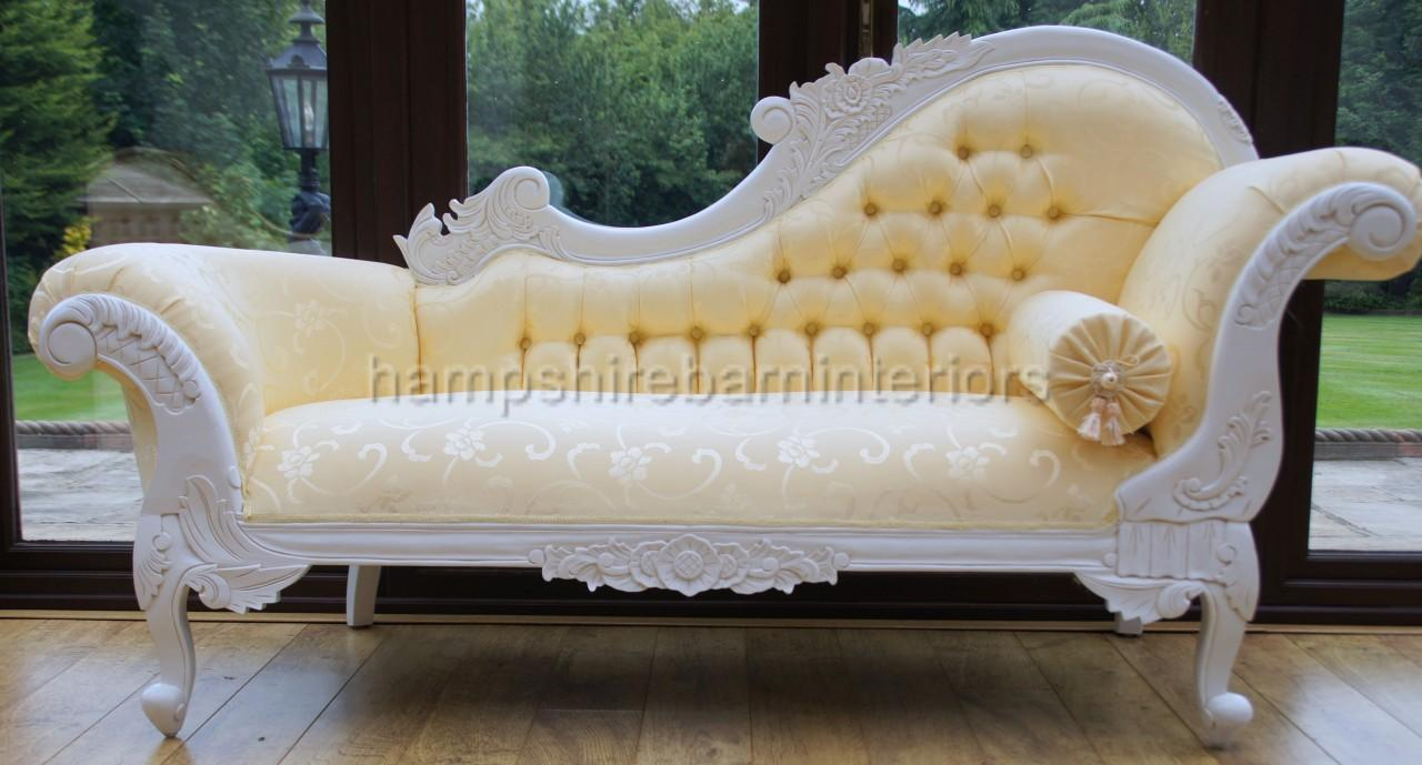 An Antique White Ornate Medium Hampshire Chaise With Ivory Cream Fabric With Crystal Buttoning