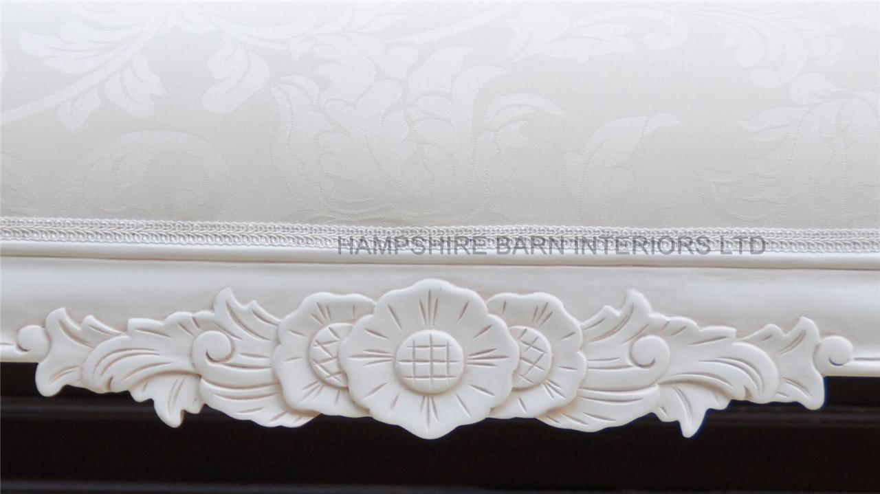 An Antique White Ornate Medium Hampshire Chaise With Ivory