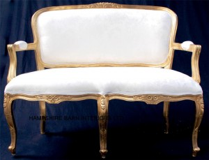 josephine ornate gold leaf sofa double ended chaise ivory cream damask