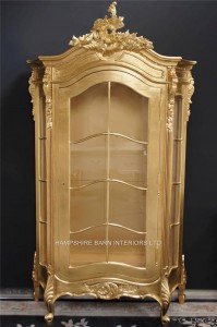 GOLD LEAF FRENCH LOUIS STYLE DISPLAY WALL CABINET UNIT