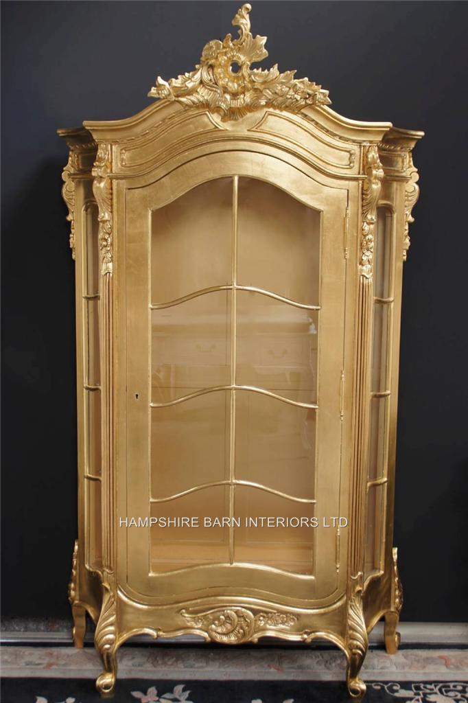Awesome An Ornate French Louis Style Carved SILVER LEAF DISPLAY CABINET, ALSO IN  ANTIQUED GOLD LEAF