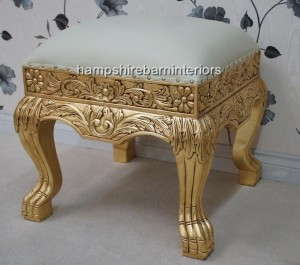 creamy white faux leather and gold leaf heavily carved wedding footstool