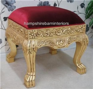 red velvet and gold leaf heavily carved wedding foot stool